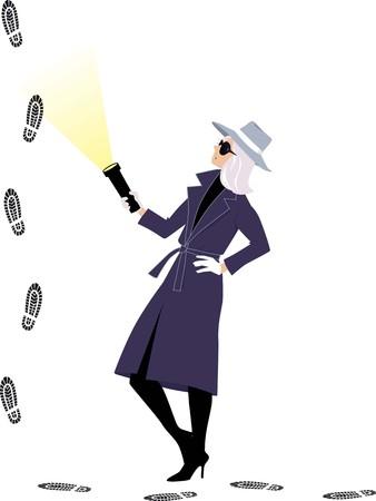 Mujer misteriosa o detective siguiendo huellas, ilustración vectorial EPS 8