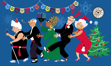 Senior citizens celebrate a multi denominational winter holidays at retirement home or a community center with diverse friends, EPS 8 vector illustration Stock Illustratie