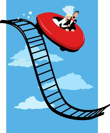 Horrified newlywed couple riding a roller coaster and going down, EPS 8 vector illustration