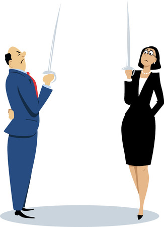 Businessman and businesswoman holding swords, ready to a duel, EPS 8 vector illustration