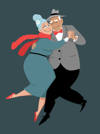 Cute couple of senior citizens dancing tango, EPS 8 vector illustration