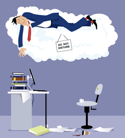Man sleeping on a cloud with do not disturb sign over his office desk, EPS 8 vector illustration