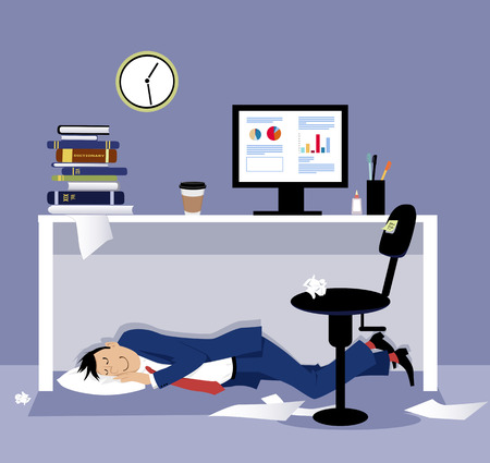 Man sleeping under his desk in the office during working hours, EPS 8 vector illustration