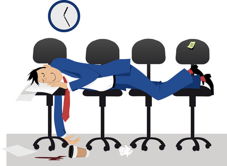 Man sleeping on chair in the office in the middle of work day, EPS 8 vector illustration Illustration