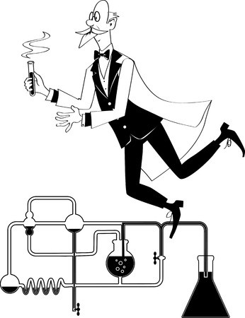 Elegantly dressed elderly gentlemen scientist floating in a laboratory with a test tube in his hands, EPS 8 vector cartoon