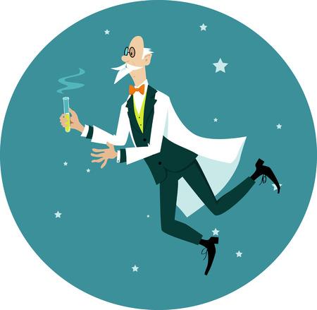 Elegantly dressed elderly gentlemen scientist floating in space with a test tube, EPS 8 vector cartoon
