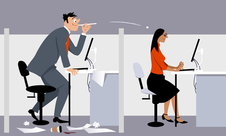 Businessman spitting paper balls at his female colleague, EPS 8 vector illustration