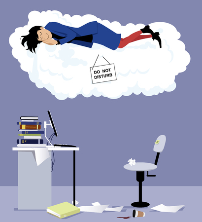 Woman sleeping on a cloud with do not disturb sign over her office desk, EPS 8 vector illustration