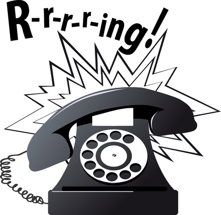 Vintage rotary dial telephone ringing, EPS 8 vector illustration, isolated on white