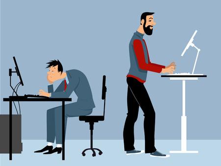 Twee man aan het werk op kantoor op de computers, een van hen met een sta-bureau, PS 8 vector illustratie