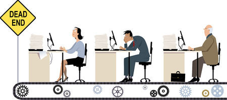 A line of business people working at their office desk riding a conveyor to the dead end, EPS 8 vector illustration of dead-end job