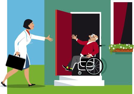 Arts die een huisbezoek maakt aan een bejaarde gehandicapte, EPS-8 vectorillustratie