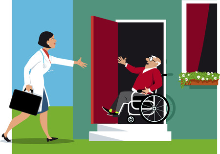 Doctor making a house call to a elderly disabled person, EPS 8 vector illustration Çizim