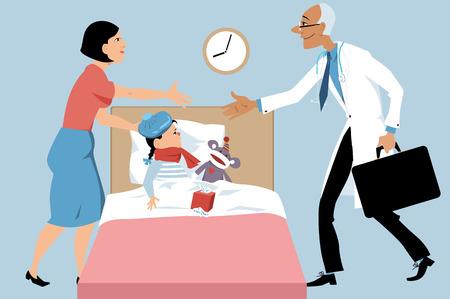 Médecin faisant un appel à domicile à un enfant malade, une mère le saluant, illustration vectorielle EPS 8