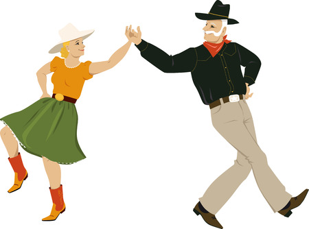 A mature couple dressed in traditional country western costumes dancing, EPS 8 vector illustration Vetores