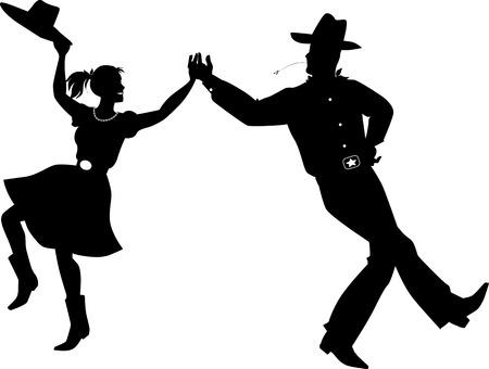 Een paar gekleed in traditionele country western kostuums dansen, EPS 8 vector silhouet illustratie