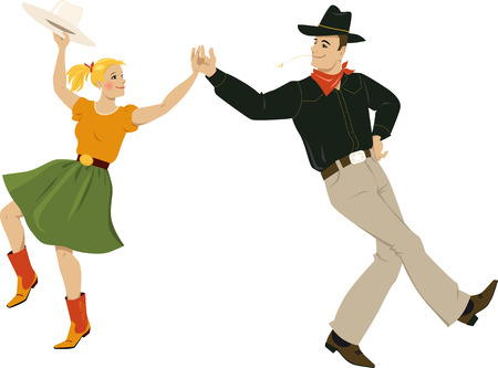 Een paar gekleed in traditionele country western kostuums dansen square dance of tegenspraak, EPS-8 vector illustratie