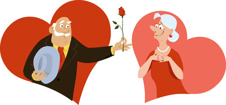 A senior man presenting a rose to a mature woman, hearts on the background, EPS 8 vector illustration
