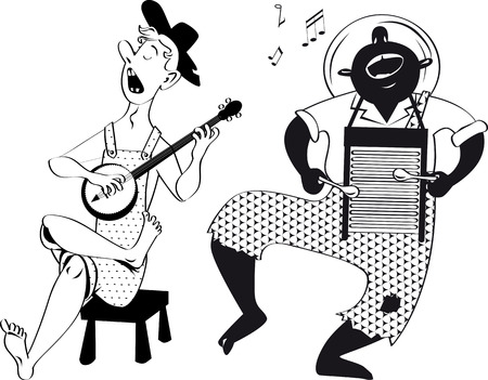 American root musicians playing a banjo and a washboard, EPS 8 vector line illustration