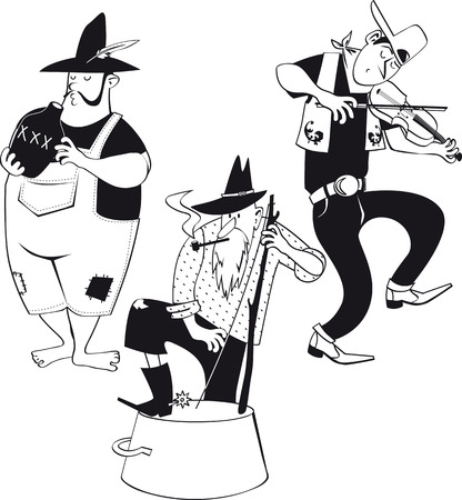 American jug band with a fiddler and jug and washbasin bass players, EPS 8 vector line illustration, no white objects Illusztráció