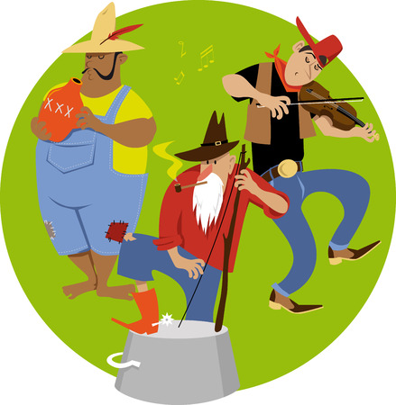 American jug band cartoon with a fiddler and jug and washbasin bass players, EPS 8 vector illustration Illustration