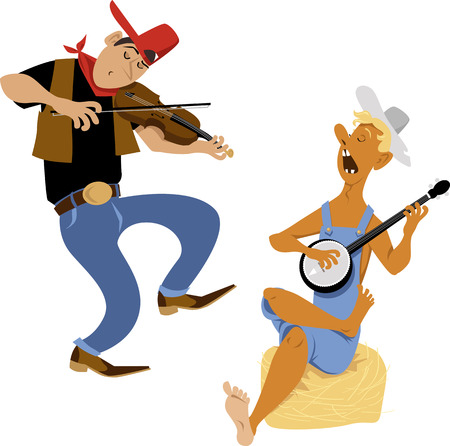 Country western folk musicians characters playing fiddle and banjo, EPS 8 vector cartoon 일러스트