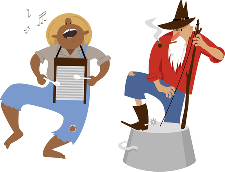 Country western folk musicians characters playing washboard and washtub bass, EPS 8 vector cartoon