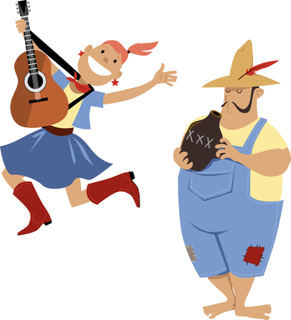 Country western folk musicians characters playing guitar and jug, EPS 8 vector cartoon
