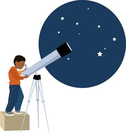 Petit garçon regardant dans un télescope vers les étoiles, illustration vectorielle EPS 8