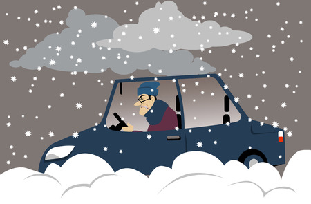 Distressed motorist stuck in snow during a winter storm, EPS 8 vector illustration