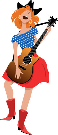 Young girl in country-western clothes singing and playing guitar, EPS 8 vector illustration Vetores