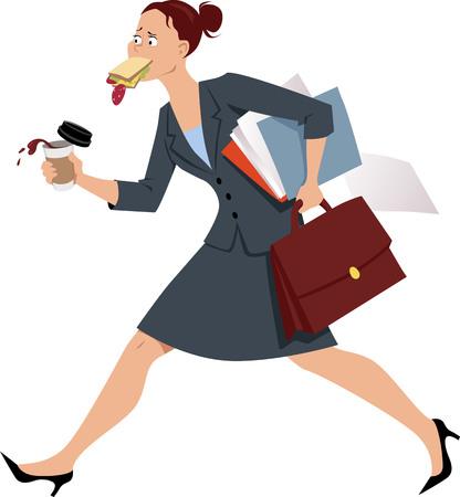 Empresaria comiendo a la carrera, sin tiempo para un desayuno adecuado, ilustración vectorial EPS 8
