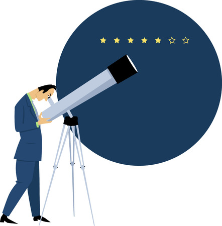 Businessman looking in a telescope at the star rating, EPS 8 vector illustration