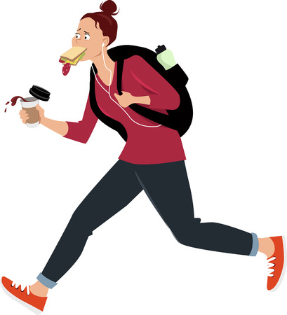 Female student eating while running, with no time for a proper breakfast, EPS 8 vector illustration
