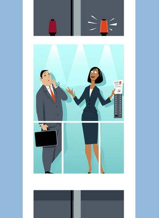Business woman giving an elevator pitch to an executive, EPS 8 vector illustration