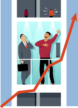 Entrepreneur giving an elevator pitch to an executive, EPS 8 vector illustration