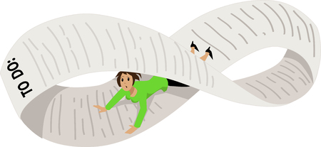 Disoriented woman on an endless to-do list, bent into a Möbius strip, EPS 8 vector illustration Çizim