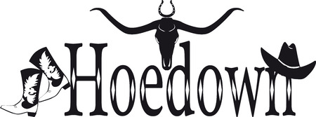 Hoedown black vector banner in country-western style, EPS 8, no white objects