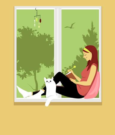 Mujer escribiendo en un diario, sentada en una ventana con un gato, ilustración vectorial EPS 8