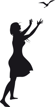 Black vector silhouette of a woman, releasing a bird, drawn from imagination, no model release necessary, EPS 8 vector illustration 向量圖像