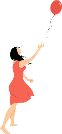 Woman letting go of a balloon as a metaphor for a psychological freedom, EPS 8 vector illustration Vectores
