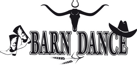Barn dance black silhouette vector banner with cowboy boots and hat and buffalo scull, no white objects, EPS 8