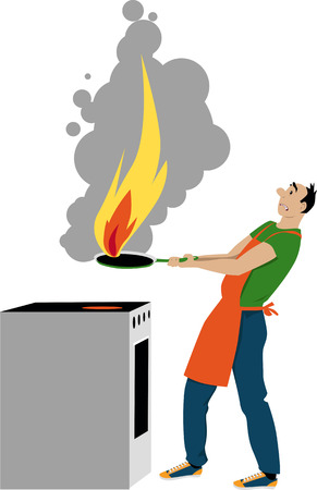 Man cooking in the kitchen, his fry-pan caught fire, EPS 8 vector illustration