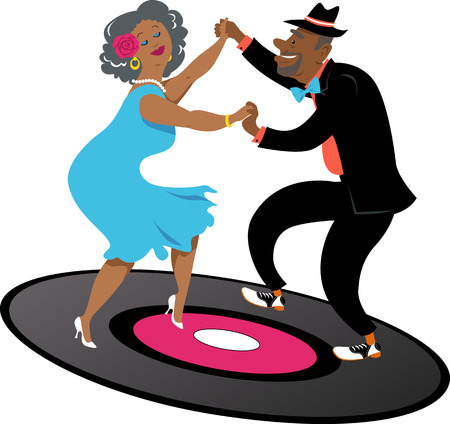 Cute couple of African-American senior citizens dancing on a vinyl record, EPS 8 vector illustration Vector Illustration
