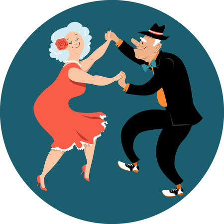 Cute couple of senior citizens dancing Latin style, EPS 8 vector illustration