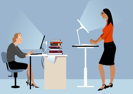 Two women working at the office on the computers, one of them using a standing desk, PS 8 vector illustration Illustration