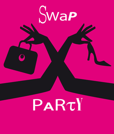 Swap party invitation or poster with female hands exchanging accessorizes, EPS 8 vector illustration