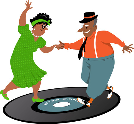 Cute couple of African-American senior citizens dancing on a vinyl record, EPS 8 vector illustration
