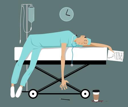 Medico o stagista oberato di lavoro esaurito sdraiato su una barella, illustrazione vettoriale EPS 8