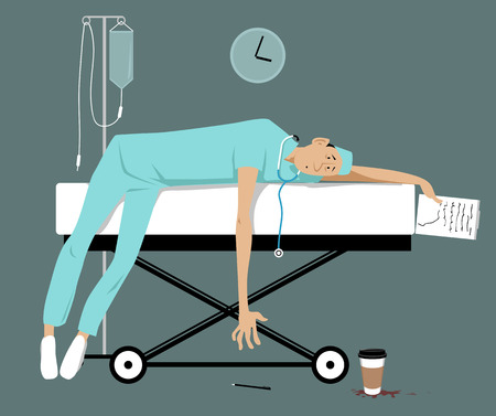 Exhausted overworked doctor or intern lying on a gurney, EPS 8 vector illustration